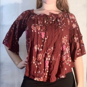 Floral Burgundy blouse